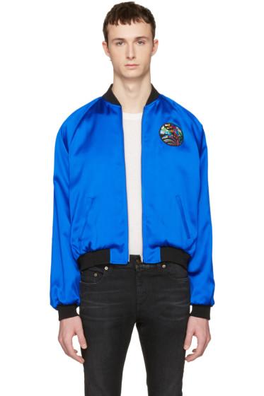 Saint Laurent - Blue Teddy 'Sweet Dreams' Shark Bomber Jacket