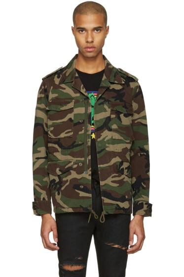 Saint Laurent - Green Camo 'Love' Military Jacket