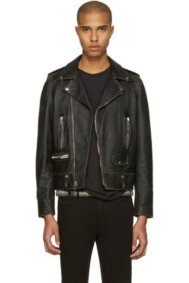Saint Laurent - Black Leather Worn Classic Moto Jacket