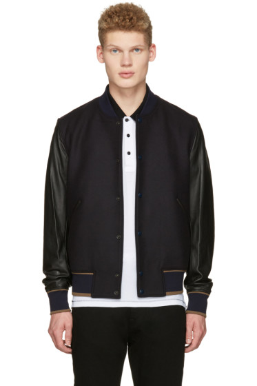 PS by Paul Smith - Navy & Black Varsity Bomber Jacket