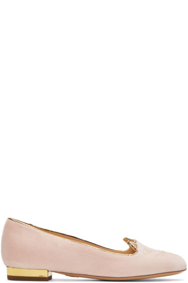Charlotte Olympia - Pink Velvet Kitty Flats
