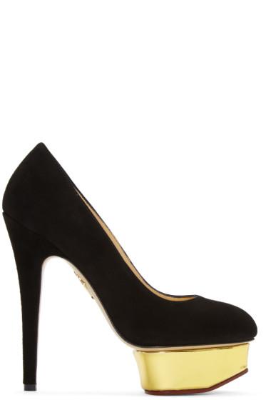 Charlotte Olympia - Black Suede Platform Dolly Heels