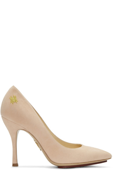 Charlotte Olympia - Pink Suede Bacall Heels