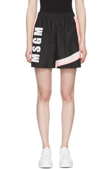 MSGM - Black Colorblocked Logo Shorts