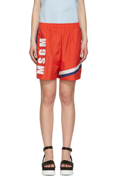 MSGM - Red Colorblock Logo Shorts