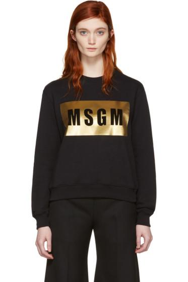 MSGM - Black Metallic Block Logo Pullover