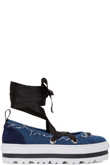 MSGM - Blue Denim Platform Ballerina Flats