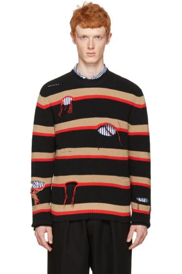 MSGM - Black Destroyed Stripes Sweater
