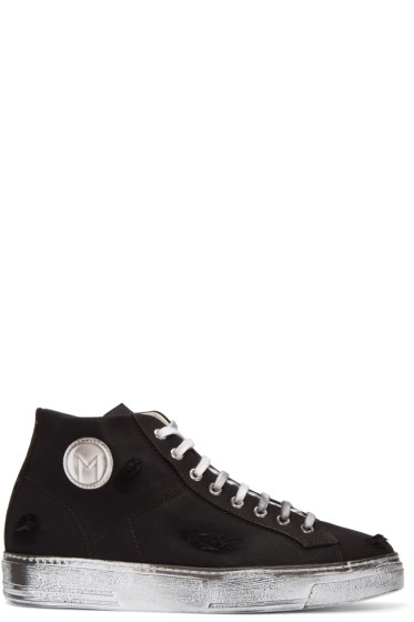 MSGM - Black Worn Out Retro Mid-Top Sneakers
