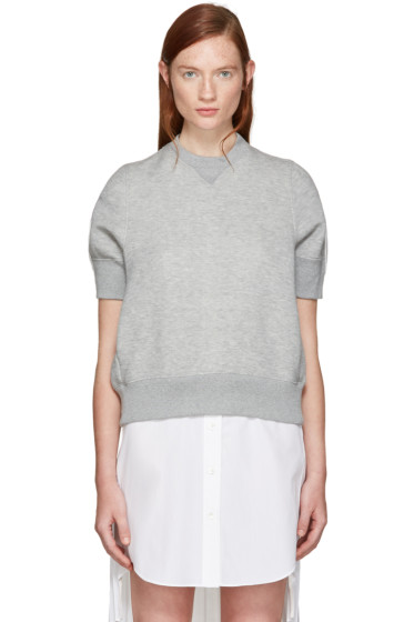 Sacai - Grey Panelled Pullover