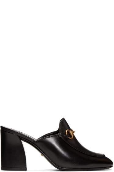 Gucci - Black Heeled Slip-On Loafers