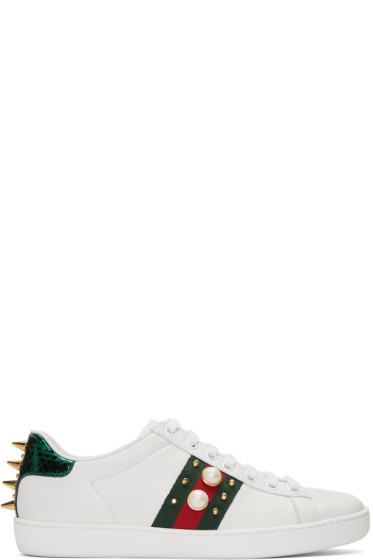 Gucci - White Studded Ace Sneakers