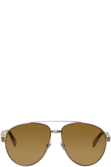 Gucci - Silver Aviator Sunglasses