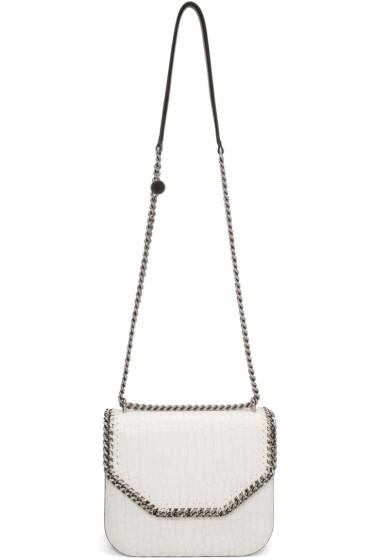 Stella McCartney - Ivory Croc-Embossed Flap Shoulder Bag