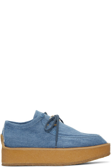 Stella McCartney - Blue Denim Platform Derbys