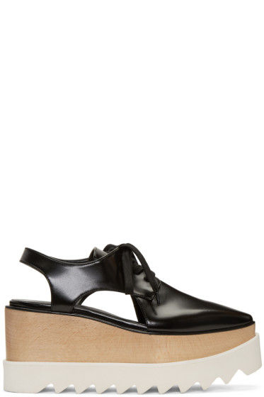 Stella McCartney - Black Cut-Out Platform Elyse Derbys