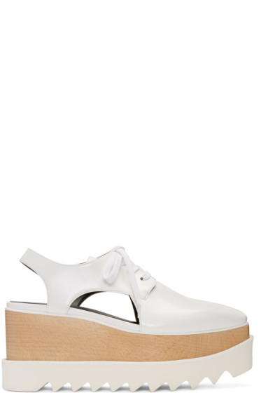 Stella McCartney - White Cut-Out Platform Elyse Derbys
