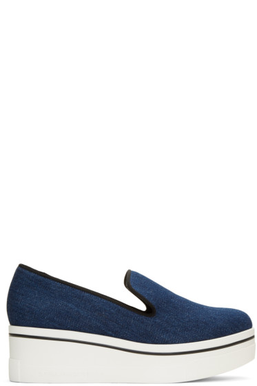 Stella McCartney - Navy Denim Slip-On Sneakers