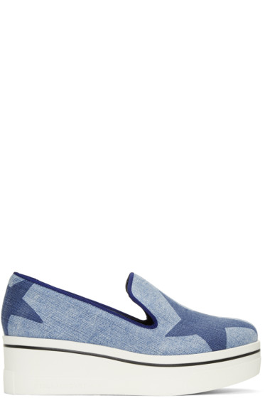 Stella McCartney - Blue Denim Platform Binx Sneakers