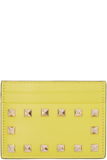 Valentino - Yellow Rockstud Card Holder