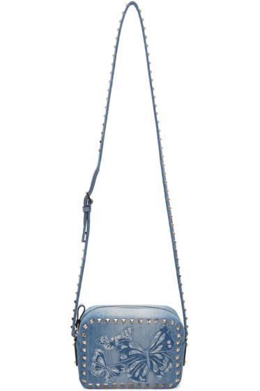 Valentino - Blue Denim Embroidered Rockstud Camera Bag