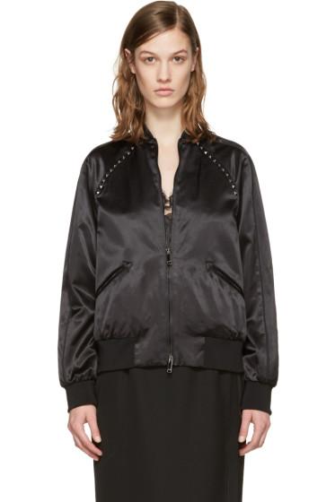 Valentino - Black Satin Rockstud Untitled Bomber Jacket
