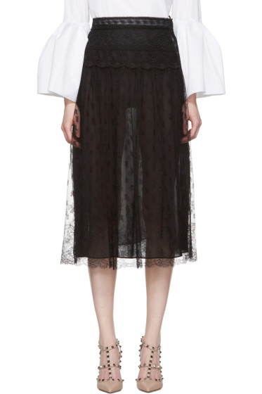 Valentino - Black Lace Skirt