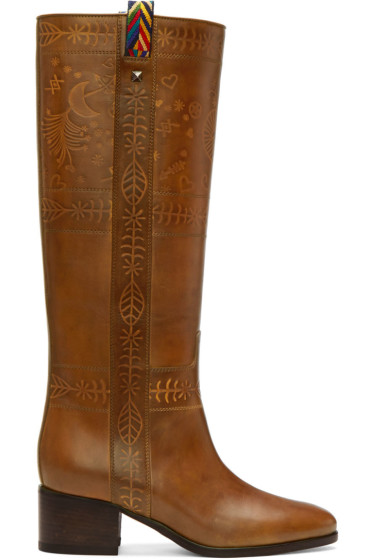 Valentino - Brown Santeria Embossed Boots