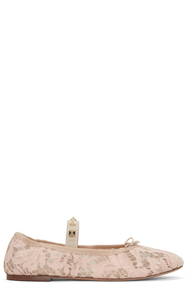 Valentino - Beige Lace Rockstud Ballerina Flats