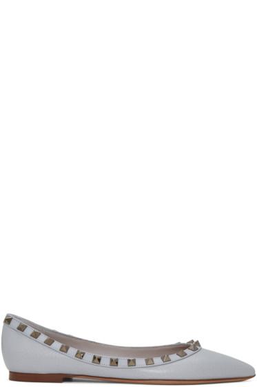 Valentino - Grey Rockstud Ballerina Flats