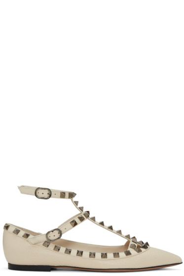 Valentino - Ivory Rockstud Cage Ballerina Flats