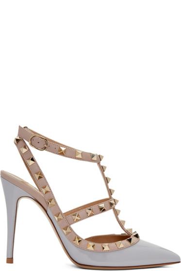 Valentino - Grey Rockstud Cage Heels