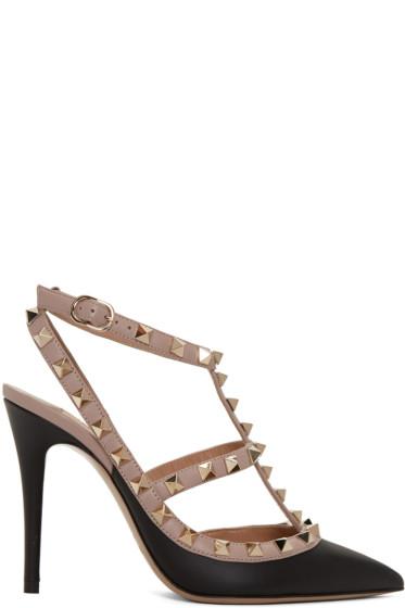 Valentino - Black Rockstud Cage Heels