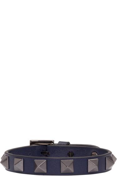 Valentino - Navy Leather Rockstud Bracelet
