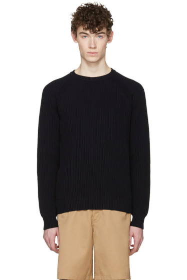 AMI Alexandre Mattiussi - Navy Ribbed Sweater