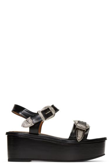 Toga Pulla - Black Buckle Flatform Sandals