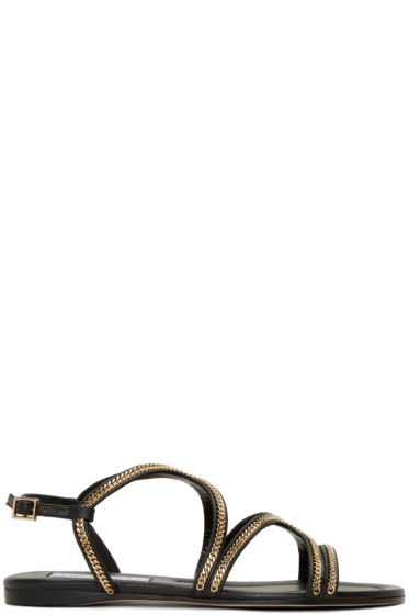 Jimmy Choo - Black Chain-Trimmed Nickel Sandals