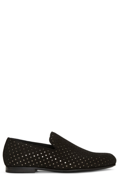 Jimmy Choo - Black Suede Perforated Sloane Loafers