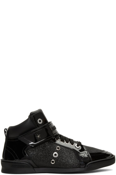 Jimmy Choo - Black Glitter Lewis High-Top Sneakers