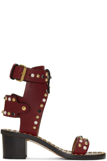 Isabel Marant - Burgundy Studded Jeaeryn Sandals