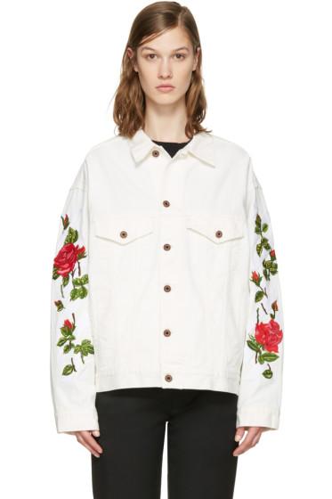 Off-White - White Denim Diagonal Roses Jacket