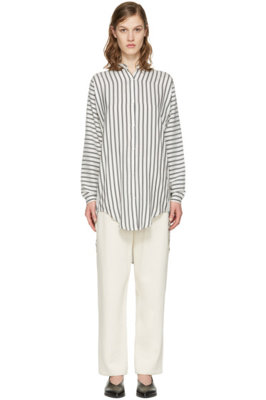 Studio Nicholson - White Striped Silk Teddy Shirt