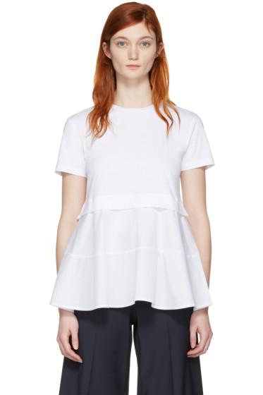 Jil Sander Navy - White Peplum T-Shirt