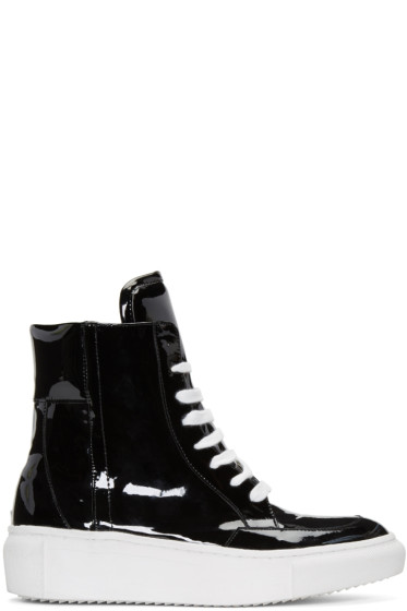 D by D - Black Coated High-Top Sneakers