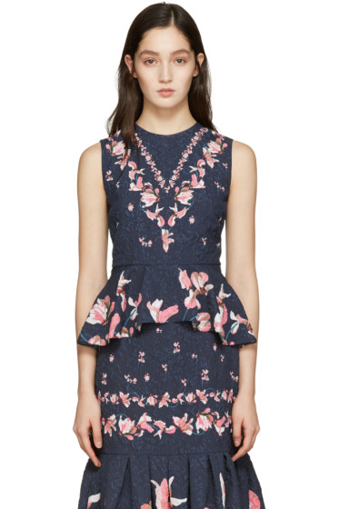 Erdem - Navy Queenie Tank Top