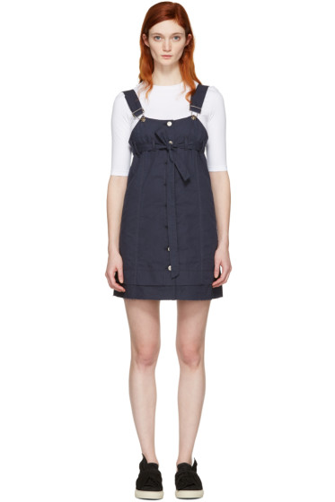 SJYP - Navy Button-Front Dress
