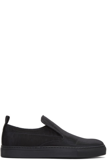 AD Ann Demeulemeester - Black Ribbed Textile Slip-On Sneakers