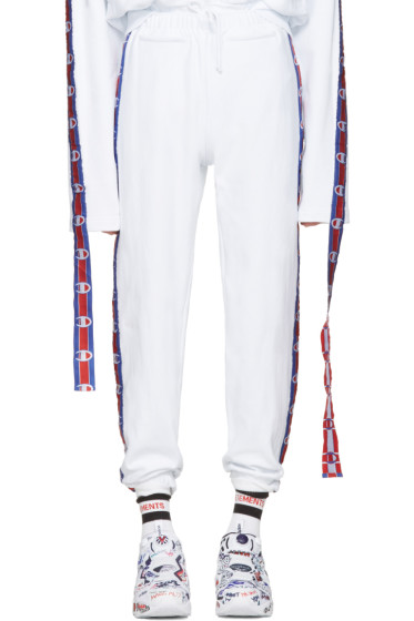 Vetements - White Champion Edition Tape Track Pants