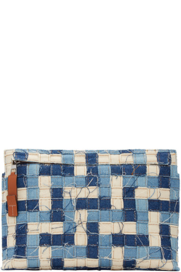 Loewe - Blue Denim & Leather Weave Pouch