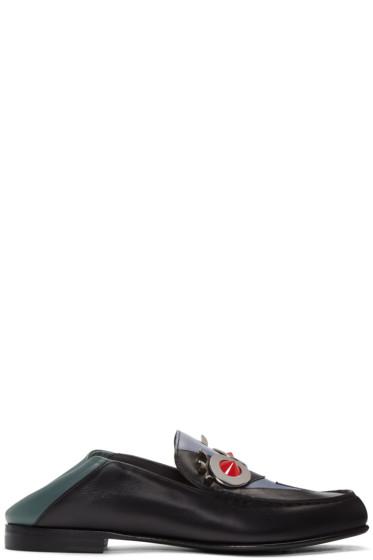 Fendi - Black & Grey 'Fendi Faces' Loafers
